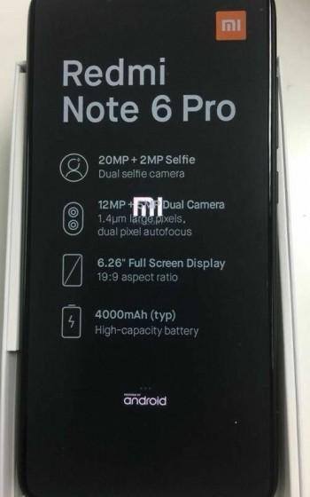 Шпионская фотография Xiaomi Redmi Note 6 Pro