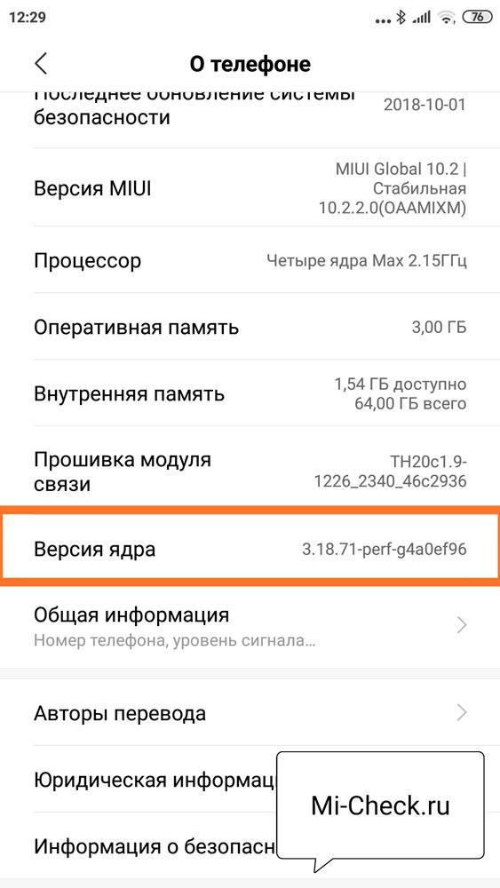 Пункт меню Версия Ядра на Xiaomi