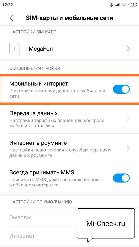 Пункт Мобильный интернет в настройках