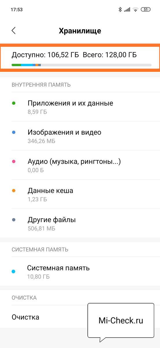 Количество свободной и занятой памяти Xiaomi