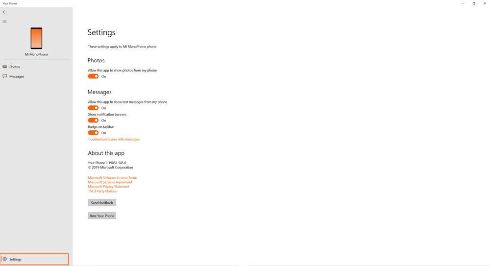 Выбор синхронизируемых элементов между компьютером и Xiaomi