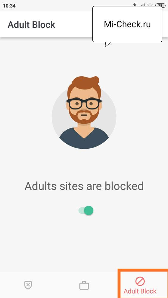 Функция блокировки всех сайтов для взрослых на Xiaomi с помощью программы BlockSite