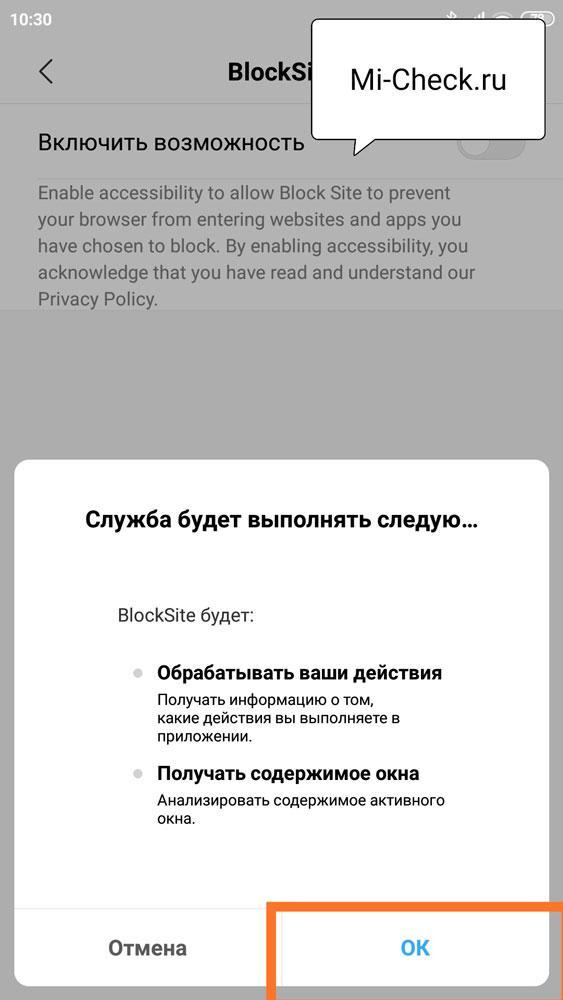 Перечисление прав, которое вы даёте приложению BlockSite на отслеживание действий