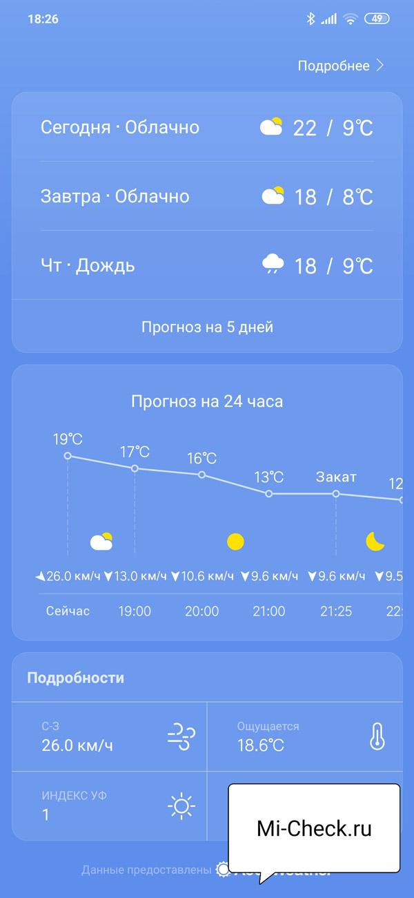 Подробный прогноз погоды на следующие 24 часа на Xiaomi