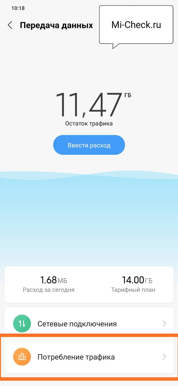 Раздел со статистикой потребления трафика на Xiaomi