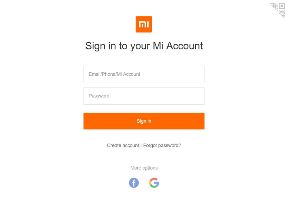 Ввод логина и пароля для удаления Mi аккаунта