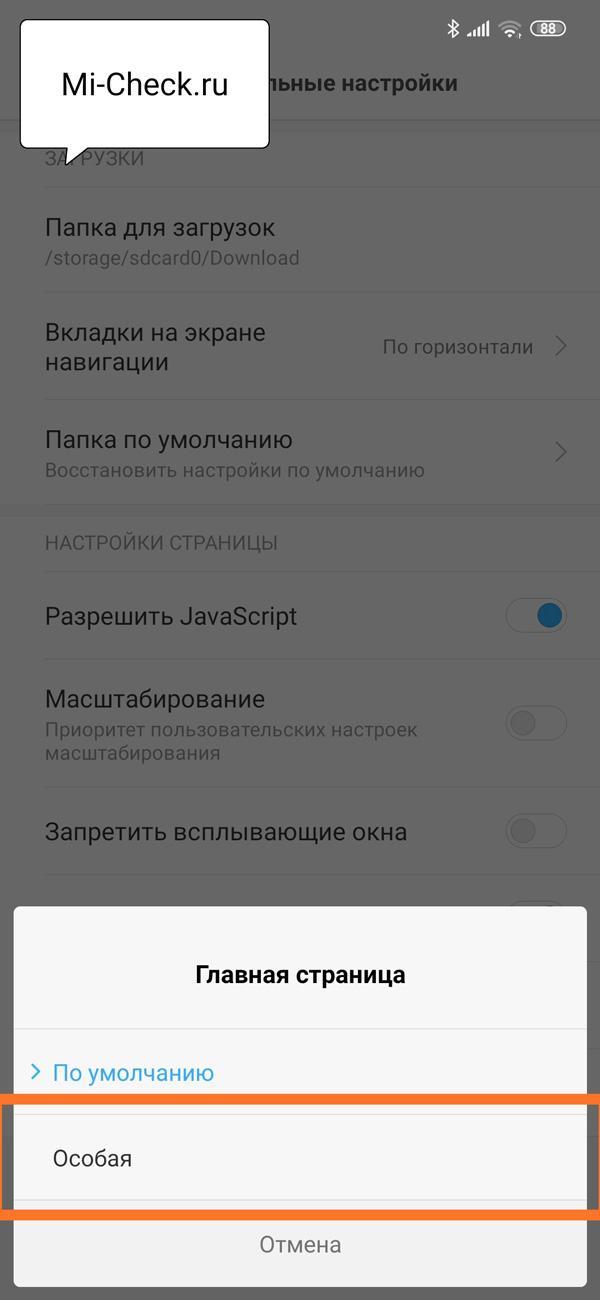 Режим Особая для главной страницы браузера Xiaomi