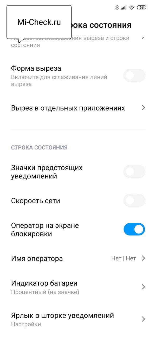 Список настроек строки состояния и выреза в MIUI 11 на Xiaomi