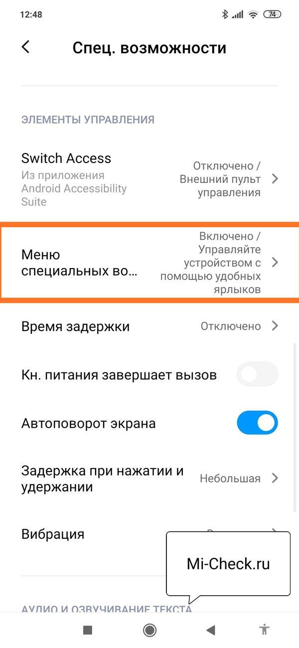 Меню специальных возможностей в настройках MIUI 11 на Xiaomi