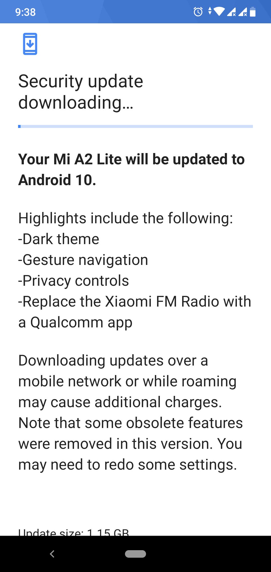 Исправленная прошивка с номером v11.0.4.0.QDLMIXM для Mi A2 Lite Android One