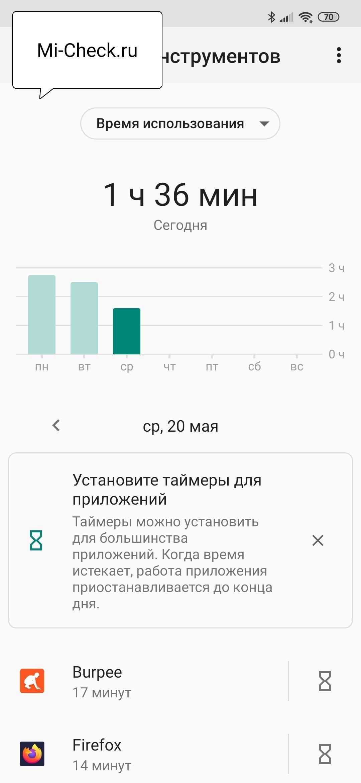 Панель инструментов цифрового благополучия на Xiaomi