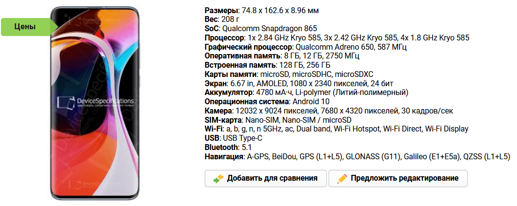 Версия Bluetooth в технических спецификациях модели телефона Xiaomi на сайте devicespecifications.com