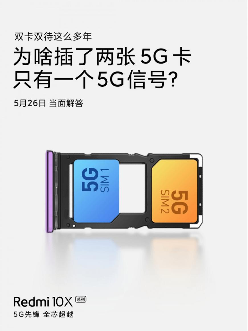 2 SIM-карты 5G работают одновременно Redmi 10X
