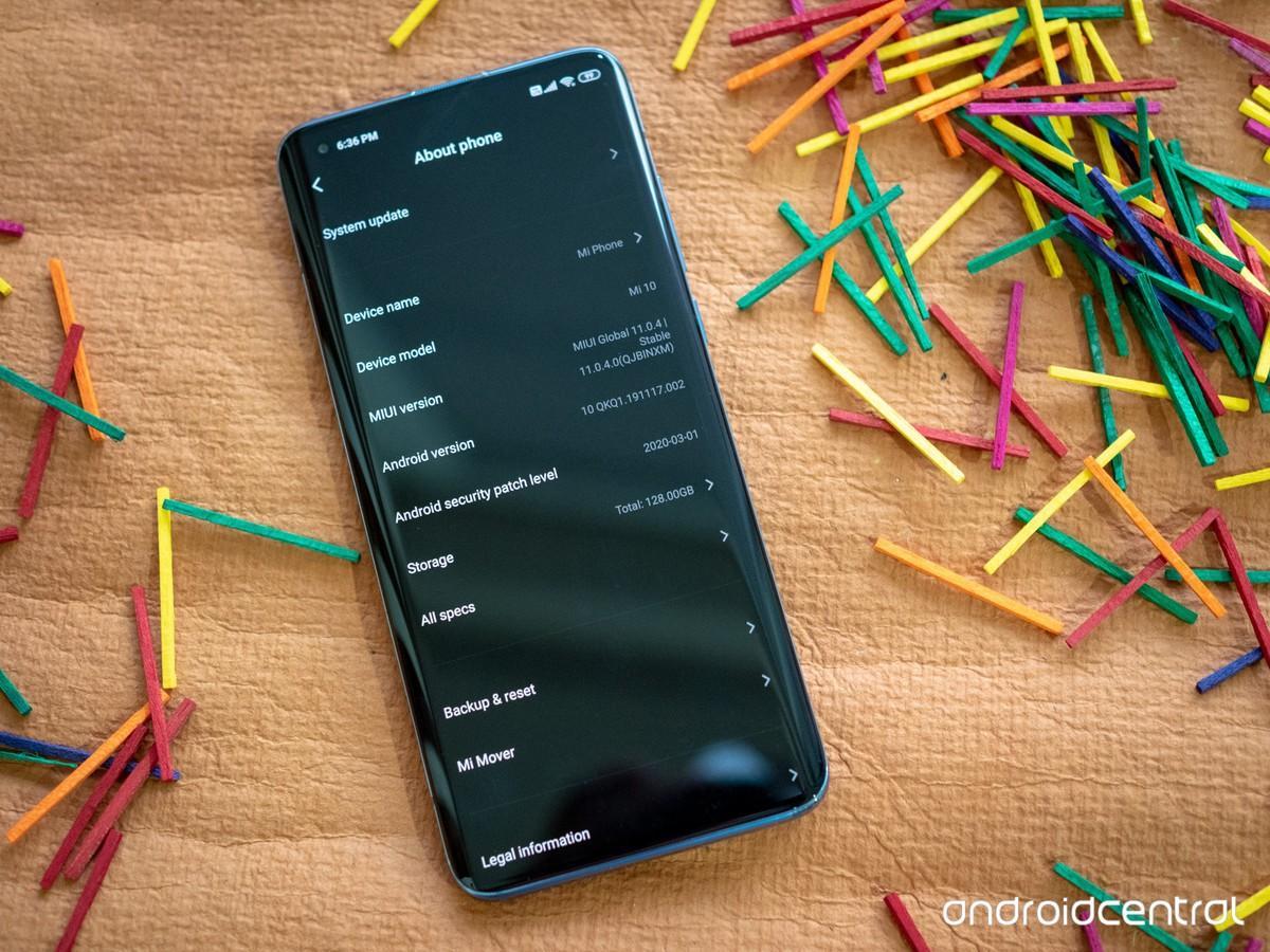 Информация о технических характеристиках Xiaomi Mi 10