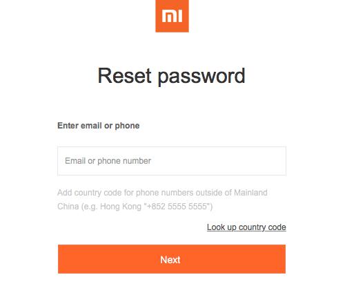 Ввод адреса электронной почты или номера телефона для начала восстановления пароля от Mi аккаунта на Xiaomi