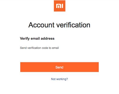 Отправка кода на почту для её подтверждения для начала процесса восстановления Mi аккаунта на Xiaomi