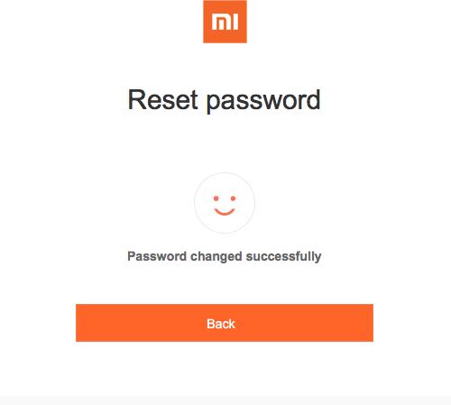 Пароль для Mi аккаунта восстановлен