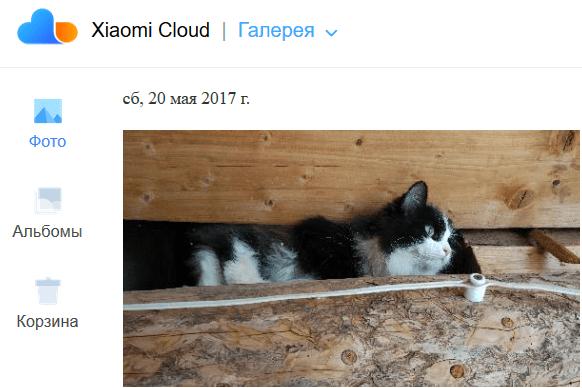 Корзина в облаке Xiaomi