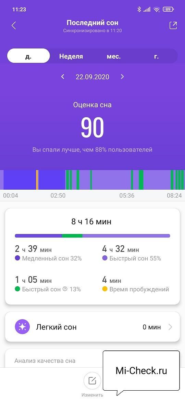 Просмотр график сна, который измерил Mi Band 5