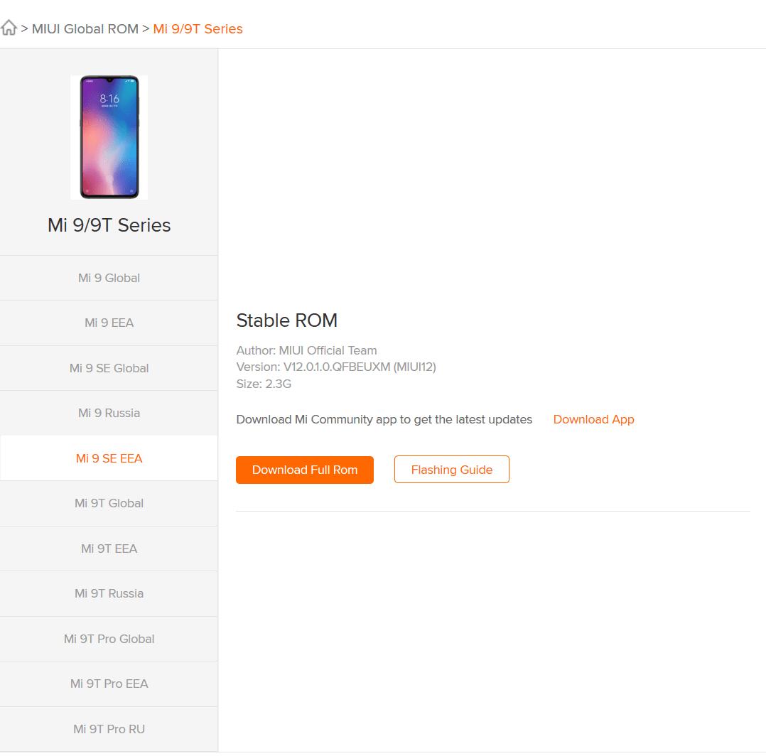 Страница для загрузки европейской прошивки MIUI 12 для Xiaomi