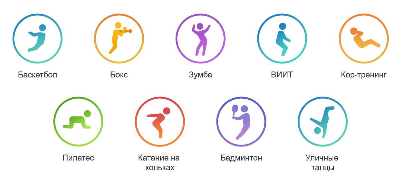 Mi Band 6 отслеживает 30 типов физической активности